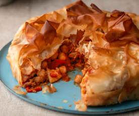 Moroccan Chickpea and Halloumi Pie