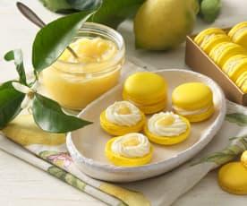 Zitronen-Macarons mit Lemon Curd und Joghurt-Ganache
