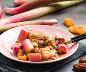 Pollo guisado con ruibarbo y manzana
