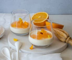 Spiced panna cotta with orange gin jelly