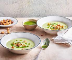 Zuppa di zucchine con formaggio fresco