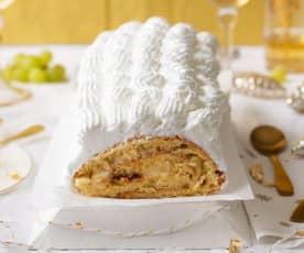 Brazo gitano relleno de crema pastelera y dulce de leche