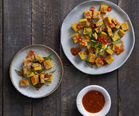 Burmese chickpea tofu with spicy dipping sauce