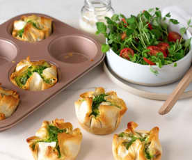 Spinach and chorizo filo pies