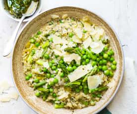 Risotto aux légumes verts, mascarpone et pesto de menthe
