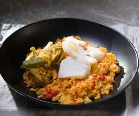 Arroz de alcachofas y bacalao (Cocción de arroz)