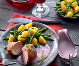 Schweinefilet mit Rotwein-Frischkäsesauce