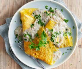 Omelette et sauce aux champignons