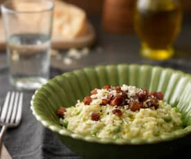 Baby Peas and Pancetta Risotto