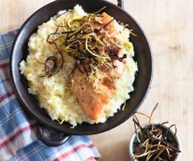 Risotto aux poireaux et saumon mi-cuit