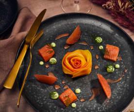 Gin-Tonic-Saibling mit gehobelter Feldfrucht und Petersilien-Mayonnaise