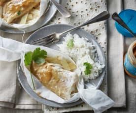 Papillote d'églefin sauce satay