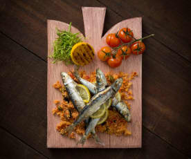 Sardines with tomato couscous