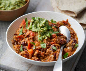 Jackfruit and Bean Chilli with Spicy Avocado Purée
