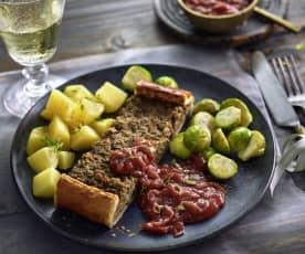 Linsenbraten mit Zwiebelsauce und Rosenkohl