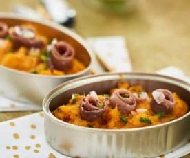 Puré de zanahorias asadas con anchoas en salazón