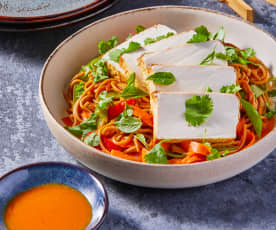 Chili and Peanut Noodles with Tofu and Chili Garlic Oil