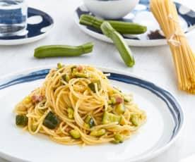 Carbonara di zucchine, fagiolini e pancetta