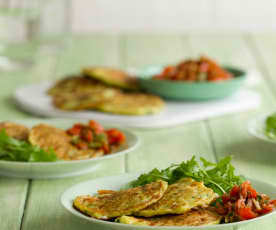 Mediterranean Courgette Fritters and Salsa