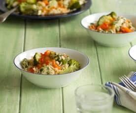 Gemüsereis mit Huhn, Asia-Style