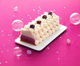 Bûche glacée litchi - griotte - pistache
