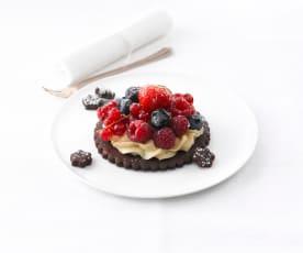 Tarte fine aux 2 chocolats et fruits rouges