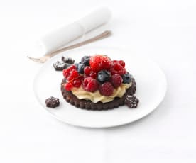 Tarte fine aux 2 chocolats et fruits rouges