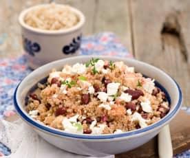Fazolový salát s quinoou a sýrem