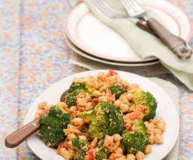 Brokolice s cizrnou v ořechové omáčce