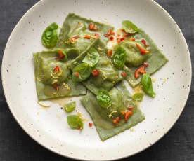 Prawn and Asparagus Basil Ravioli