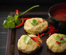 Steamed Thai-style fish cakes