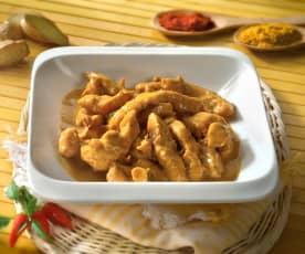 Pollo con salsa al curry