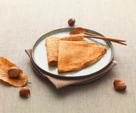 Chestnut Flour Pancakes with Apple Compote