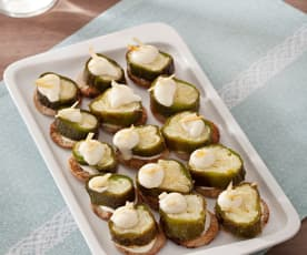 Crostini with Stuffed Anaheim Peppers and Mayonnaise