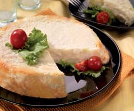 Sformato di pane con porri e crema al Parmigiano reggiano filante