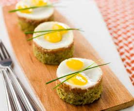 Alheira com brócolos e ovos de codorniz