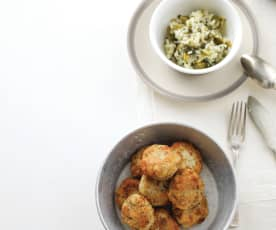 Açordas de bacalhau e coentros com arroz de grelos