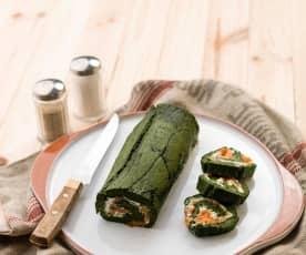 Rolo de espinafres e salmão