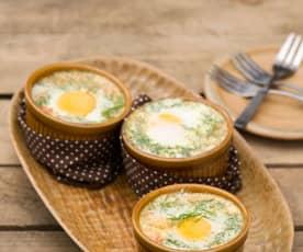 Jajka w kokilkach na parze