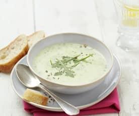 Krémová bramborová polévka s rukolou