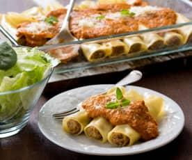 Cannelloni met varkensvlees en groentesaus