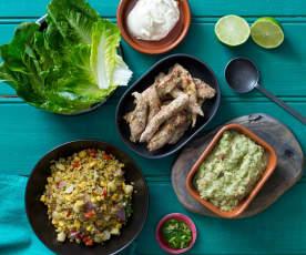 Wraps met jalapeño, kip en sla