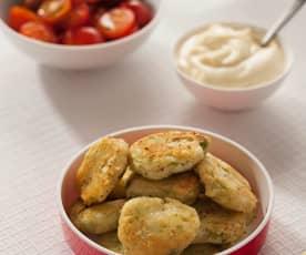 Mini fishcakes di baccalà e piselli