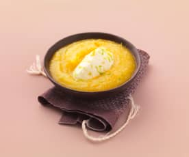 Compote à l'orange et crémeux de fromage blanc