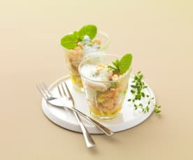 Bohnen-Gurken-Salat mit Buttermilch-Minz-Dressing