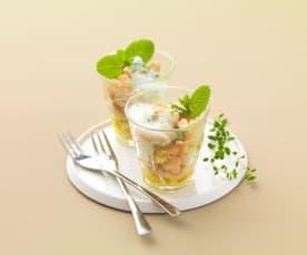 Salade de concombre et haricots à la menthe et au lait ribot