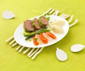 Noisettes d'agneau en croûte d'herbes et ses légumes