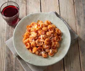 Orecchiette in rosso con pancetta (senza glutine)
