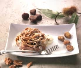 Tagliatelle di castagne al pesto di noci (senza glutine)