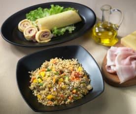 Quinoa con verdure e frittata al vapore (senza glutine)